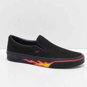 Vans Classic Slip On Flame Black & Black Shoes